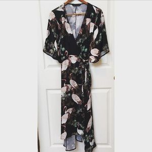 fcb4f154 Zara Dresses | Crane Print Midi Wrap Dress | Poshmark